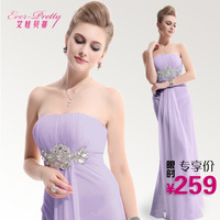 Betty bride dress evening dress long tube top design dress skirt purple formal dress