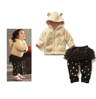 Baby Girls Christmas Clothing Set 2 Pcs Cotton Hoodies And Pants With Skirt Children Easter Wear 2014 Girls CS21101-14W^^EI