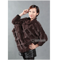 QD27889 Women's Natural Checkered Knitted Rabbit Fur Pullovers Sweater Shawls Lady Wraps Turn-down Collar batwing sleeve blouse