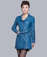Free shipping!new 2013women's dress long leather jacket goat skin fashion slim large size Suit collar leather dust coat