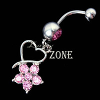 Wholesale 12pcs/lot New Flower Rhinestone Heart Navel Ring  Barbell Ring Body Jewelry Piercing Dangle Crystal Free Shipping 6784