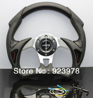 "Free Shipping MOMO Racing Steering Wheel 13"" PVC PVC+PU Aium Bracket,  Good Car Styling Drifting Wheel with Perfect Texture"