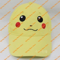 Free Shipping Pocket Monster Pokemon Pikachu Light Yellow Dome Baseball Cap Anime Cosplay Hat Smile Version