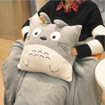 Totoro air conditioning blanket hand pillow quilt dual-use cushion plush toy birthday gift