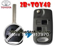 Free shipping  TOYOTA 2 BUTTON FLIP KEY SHELL Rav4 Corolla Camry Echo Prado Celica Tarago