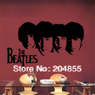 Stylish PVC TV Background Sticker Cabinet Decor Wall Sticker with Beatles Pattern--Large size