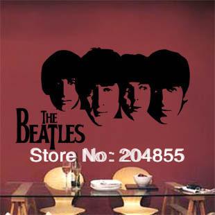 Stylish PVC TV Background Sticker Cabinet Decor Wall Sticker with Beatles Pattern--Large size