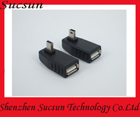 Mobile phone OTG USB adapter, USB female to mini USB male connector converter adapter with 100pcs/lot