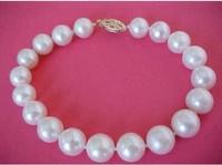 natural akoya white pearl bracelet 9-10 mm 7.5-8 inch 14k fishtail -shaped buckl