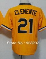 Wholesale 2013 New Popular Pittsburgh Mens #21 Roberto Clemente Black/White/Grey/Yellow American Baseball Sports wear Jerseys