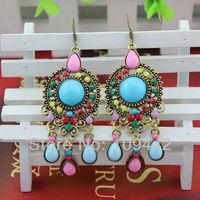 Free Shipping Ethnic Bohemian Multicolor Resign Earrings Fashion European Colorful Resign Beads Tassel Earrings GE159