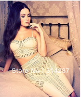 2013 New Style Elastic Knitted Sweetheart Spaghetti Strap HL Bandage Dress H0618 Studded Nude 2 Piece Evening Bodycon Dresses