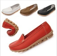 Women's Mother's Leather Shoes Slip-on Ballet Flats Comfort Anti-skid Shoes 5 colors free shipping