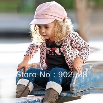 5set/pcs Fashion Children Baby Clothing Sets Long Sleeve Cotton Bowknot T-shirt + Pink Leopard Jacket + Dark Blue Long Jeans