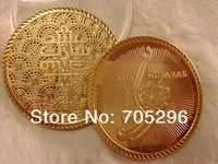Eid Eid mubarak Mohamed coin , wholesale 50pcs/lot  One Troy Ounce .24k gold plated Eid Mubarak coin