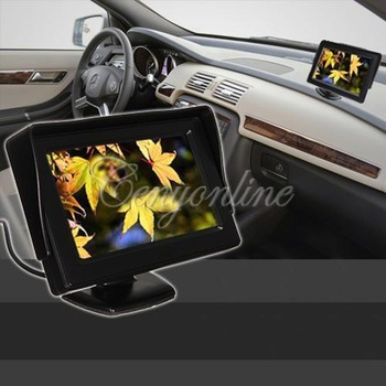 "New 4.3"" TFT LCD CCTV Car Rearview Backup Color Monitor Screen Reverse Camera Kit DVD VCR Free Shipping Wholesale"