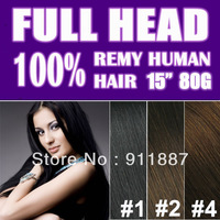 "15"" Clip In Extensions 100% Remy Human Hair Set, 80G 8PCS 18 Clips, 9 Color"