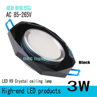 2013 NEW &Black  K9 Crystal Downlights 3W LED+ 3W+ White/Warm white +85V-265V