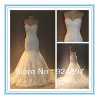 Real Design Sweetheart Neckline Applique Beads Mermaid 2013 Wedding Dress(WDS-1035)
