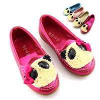 Autumn child leather rhinestone female child gommini loafers bear cloth princess shoes single shoes