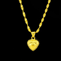 Christmas gift Pure gold Love sand necklace bridal necklace gold solid necklace 18k gold