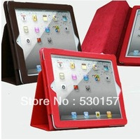 High Quality Standble pu Leather Case For Apple ipad 4 /3/2 & New ipad Smart Cover, 9 Color, Freeshipping!