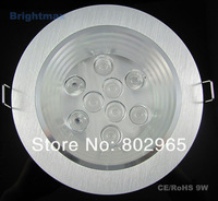 Wholesales 6pcs/lot Bridgelux 9W LED downlights LED down lights Downlamps Fedex free shipping (D145E-91)