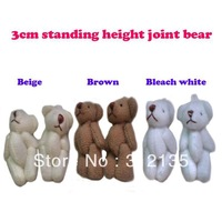 Free Shipping Classic Mini 3cm Stuffed Jointed Teddy Bear Gift Flower Packing Bear Doll Bleach white/Beige/Brown 100pcs/LOT