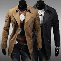 2013 Mens Long coat New winter trench men's casual double-breasted jacket Hot 125052