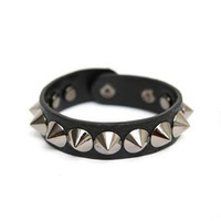 Punk Iron Rivet Snap Button / Fastener Pu Leathet Bracelet Bangle Wrist Band Wholesale Jewelry For Women B01387 Free Shipping