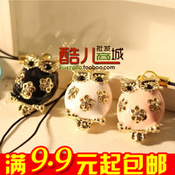 E9214 queer accessories fashion cutout owl mobile phone chain key chain bag pendant