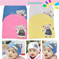 New Infant Baby Children Lovely Cute Bear Cartoon Pattern Dot Cap Hat 4 Colors 8191