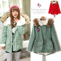 Free shipping 2013 Women's Army Green red Cotton-padded wadded Jacket Fur Collar Large Long Coat Thickening Clothing Winter Wear