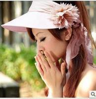 2pcs fashion reelable women's flower roll dual visor big summer hat Sun-shading summer hats beach millinery