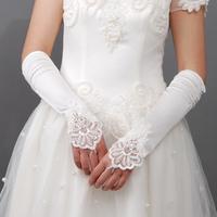 2014 Hot-selling Satin Bridal Gloves Wedding Crochet Gloves White Fingerless Gloves Wedding Accessories Drop Shipping
