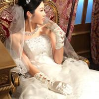 2014 Fashion Bride Wedding Dress Satin Finger Gloves Married Long Design White Gloves Wedding Gloves Wedding Accessories