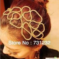 2013 fashion Hollow braided girls  headbands  gold color headdress  6pcs/lot free shipping