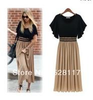 Free Shipping Plus Size Hot SaleWestern Style Stylish Vogue Color Block Bohemian Style Long Chiffon Dress