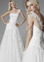 Free Shipping New Fashion One shoulder Appliques Tulle Bridal Gowns Wedding Dresses Custom Size Wholesale/Retail