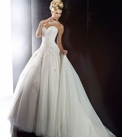 Free Shipping New Fashion Sweetheart Appliques Tulle Bridal Gowns Wedding Dresses Custom Size Wholesale/Retail