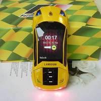 yellow F8 Sports car Unlocked cell phone Quad Band Dual SIM MP3 mobile phone