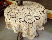 120x120 CM SQ. hand crochet tablecloth dimensional flower design beige color FREE SHIPPING