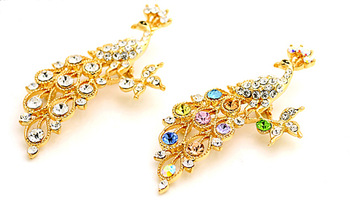 High Quality,2 Colors Beautiful Peacock Jewelry with 18K Gold plated Pin Brooch,Minimum Order $9.99/order,Free Shipping