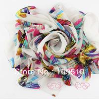 Hot sale! 2013 summer's new hot style, viscose, women's sunflower's&feather's print long silk chiffon long beach neckerchief