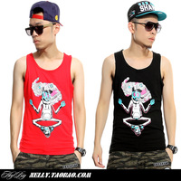 Heybig male summer pilot bboy hip-hop short tee sports casual hiphop sleeveless undershirt