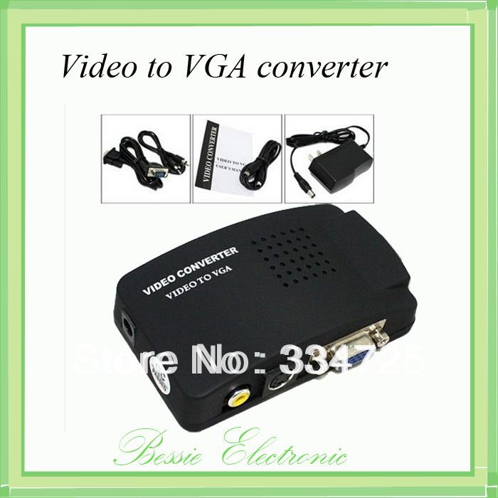 100pcs/lot AV S-Video RCA Composite Video to PC VGA Converter adapter box(China (Mainland))