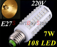 10pcs/lot,Ultra bright LED bulb 7W E27 220V Cold White/Warm White light LED lamp with108 led 360 degree Spot light Free shipping