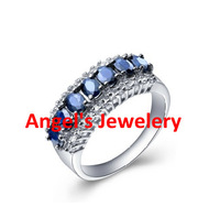Free shipping Sapphire ring Natural and real blue sapphire 925 silver plated 18k white gold Fashion and fine jewelry