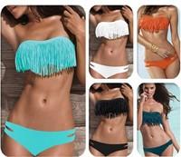 100set/lots Women Tassels Swimwear Padded Boho Fringe Bandeau Top Swimsuit Push Up Bikinis Set 5001