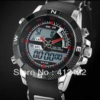 Hot sale! Men's Military dive swim watch Dual Time backligt led Digital analog quartz wrist watch Chronograph